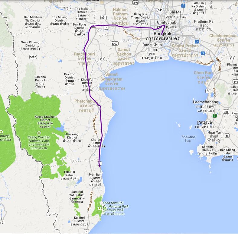 Fra Bangkok til Hua Hin, 229 km med tog.