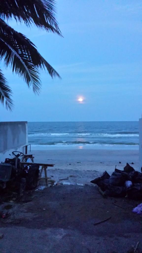 Den smule skrald kan ikke ødelægge en fantastisk strand i fuldmånelys.
