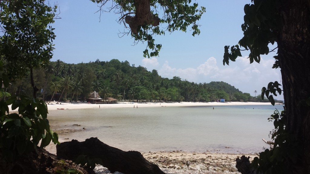 Koh Talu view strand med traeer som forgrund
