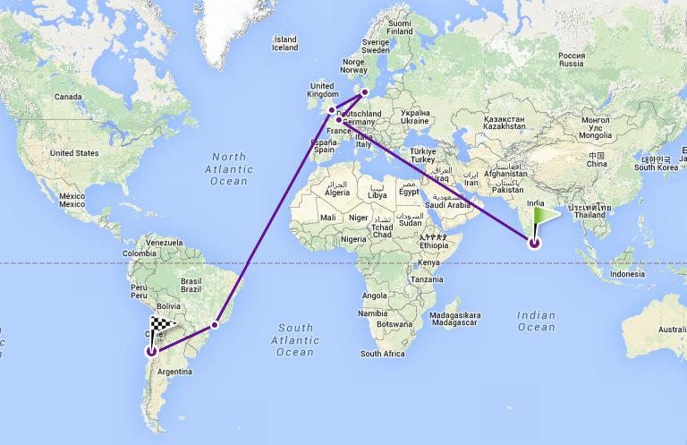 Kort over flytur fra Sri Lanka til Chile